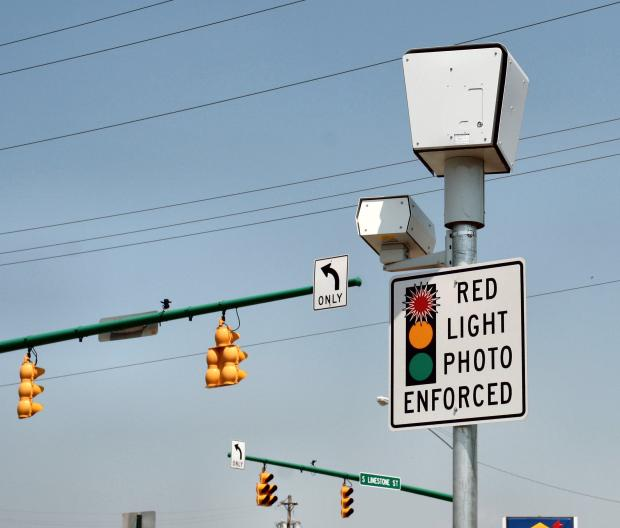 Stop light with police cameras